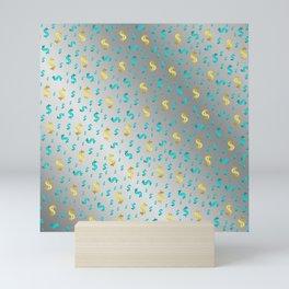 gold,blue silver metal dollar Mini Art Print