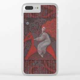 Red Horse, redhaired woman, magic night forest, folk art Clear iPhone Case