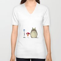 studio ghibli V-neck T-shirts featuring Studio Ghibli by adovemore