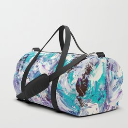 Purple turquoise blue abstract mermaid brushstrokes acrylic painting Duffle Bag