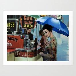 HER BLUE UMBRELLA Art Print