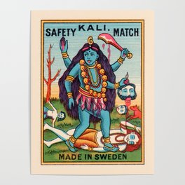 Kali Hindu Goddess Devi Shakti Matches Vintage Graphic Poster