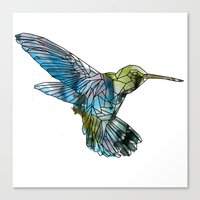 hummingbird Canvas Prints featuring Hummingbird by madbiffymorghulis