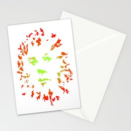 Green Flower Face Stationery Cards