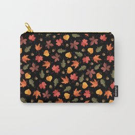 Autumn Leaves Pattern Black Background Carry-All Pouch