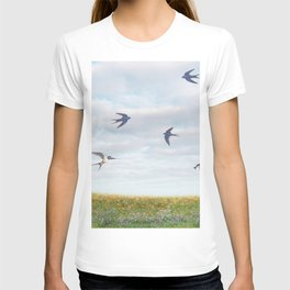 barn swallows, day lilies, and chicory T-shirt