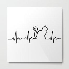 Cat Heartbeat Metal Print