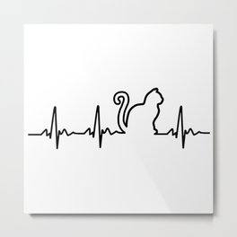 Cat Heartbeat Metal Print
