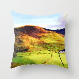 Looking Down to Buttermere Valley, Lake District, UK.  Watercolor Painting Throw Pillow
