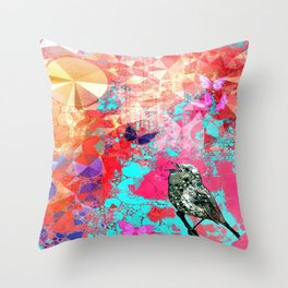 THE NIGHTINGALE SINGS TO THE MOON Throw Pillow