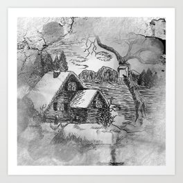 ink sketch - village in winter -2- Kunstdrucke