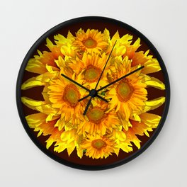 YELLOW SUNFLOWERS CHOCOLATE GARDEN ART Wall Clock