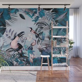Blue Birds Jungle Paradise Wall Mural