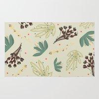 leaf Area & Throw Rugs featuring leaf by Ceren Aksu Dikenci