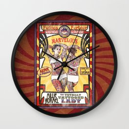 """""""Millie Normel- the Totally Tattooed Lady"""" Sideshow Poster Wall Clock"""