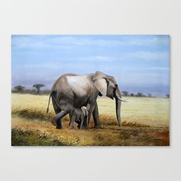 A Painting of an Elephant Mother and Child Canvas Print