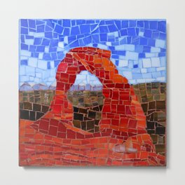 Delicate Arch - Arches National Park Utah - Stained Glass Mosaic Metal Print