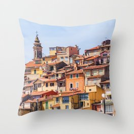 Old village of Menton French Riviera in summer Throw Pillow