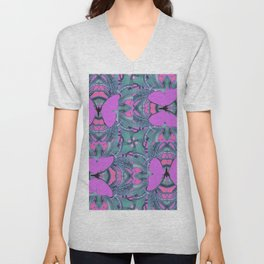 LILAC BUTTERFLIES ON BLUISH-GREY ABSTRACT ART Unisex V-Neck