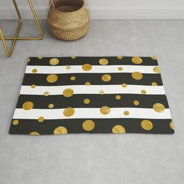 Stylish Elegant Stripes 1 (with Golden Dots) Rug