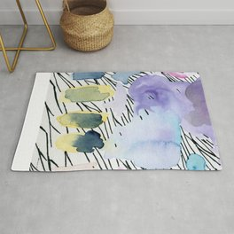 Purple match -watercolor wash and ink stripes Rug