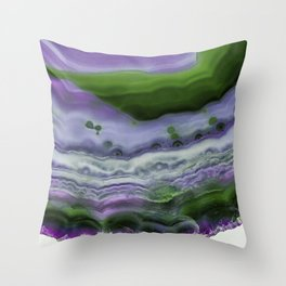 Purple and Green Agate Throw Pillow
