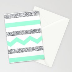 mint and glitter stripes Stationery Cards