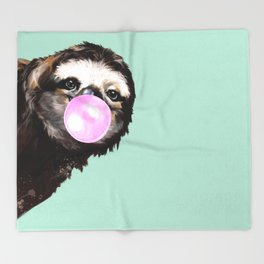 Bubble Gum Sneaky Sloth in Green Throw Blanket