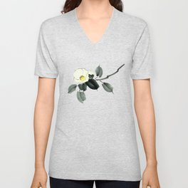 White camellia sumi ink and japanese watercolor painting Unisex V-Neck
