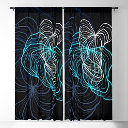 Gray, blue and white / digital drawing Blackout Curtain