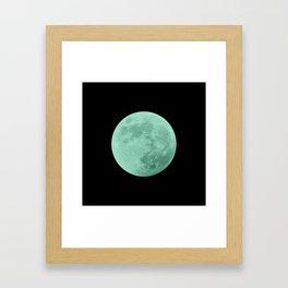 TEAL MOON // BLACK SKY Framed Art Print