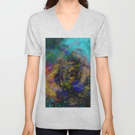 Evolving Space - Abstract, outer space painting Unisex V-Neck