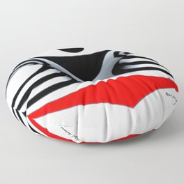 Black White and Red Geometric Abstract Floor Pillow