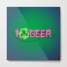 I Like Beer Neon Sign Metal Print