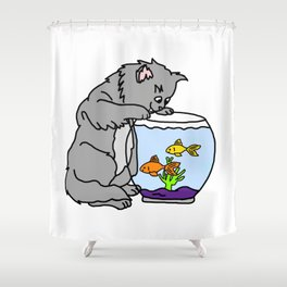 Kitten And Fish Bowl Shower Curtain