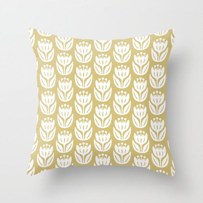 Mid Century Modern Flower Pattern Gold 333 Throw Pillow