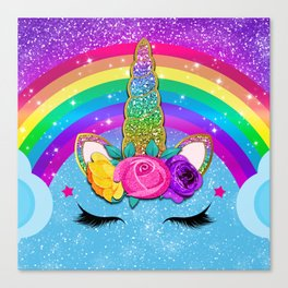 Rainbow Sparkle Unicorn Canvas Print