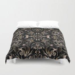 Black Gold Baroque Floral Pattern Duvet Cover