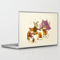 fall Laptop & iPad Skins featuring Critters: Fall Camping by Teagan White