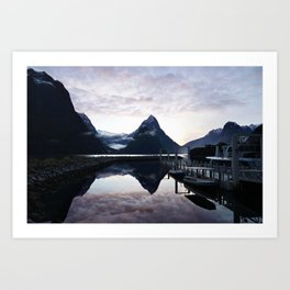 Sunset to die for at Milford Sound Art Print