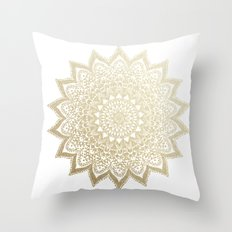BOHO NIGHTS GOLD MANDALA Throw Pillow