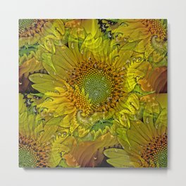 Sunflower Fractal Metal Print