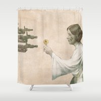 literary Shower Curtains featuring Flowers for Alderaan by Eric Fan