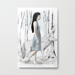 Girl with her Dog Metal Print