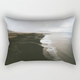 Moody black sand beach in Iceland - Landscape Photography Rectangular Pillow
