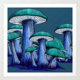 Magically Blue Mushrooms Art Print