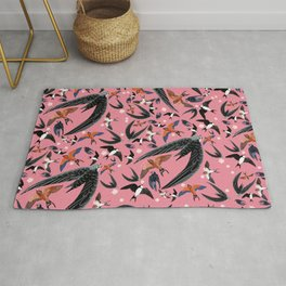 Swallows Martins and Swift pattern pink Rug