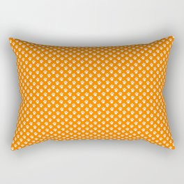 Tiny Paw Prints Pattern - Bright Orange & White Rectangular Pillow