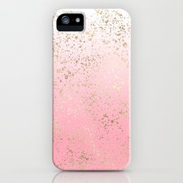 Pink White Ombre Speckled Gold Flakes iPhone Case
