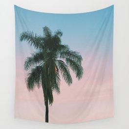 Pastel Sky Palm Tree - Los Angeles, California Wall Tapestry